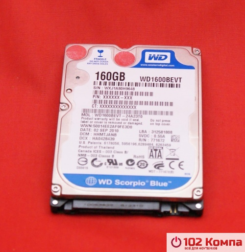 Жёсткий Диск Western Digital WD1600BEVT 160 GB 5400RPM SATA 8 MB